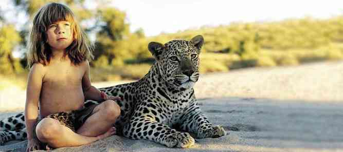 Tippi with a leopard by