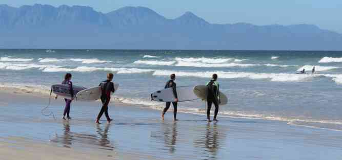 Surfing at Muizenberg Beach by