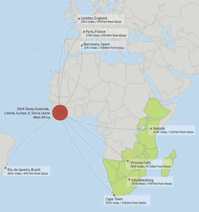 The 2014 Ebola outbreak and proximity to safari travel destinations by Luke Hardiman