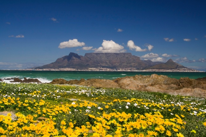 Table Mountain from Bloubergstrand by Shutterstock